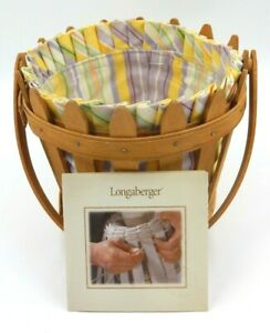 LONGABERGER PICKET PAIL HANDMADE BASKET WITH LINER AND PROTECTOR UNITED STATES $34.99