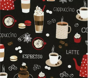New Coffee Latte Beans Cups Mugs Drink Fabric Valance Curtain Kitchen 42x14