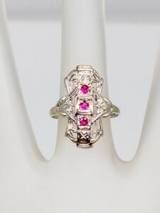 Antique 1920s 3 Stone .50ct Natural RUBY 14k White Gold Filigree Ring