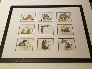Lynn Chase Matted Print Lithograph 9 Wild Animals Collection 21quot; x 17quot; Rare $249.95