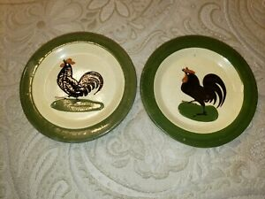 Set 2 Antique PAW P.A.W. Paul Wranitzky Czech Art Pottery Mini Plate Rooster 100