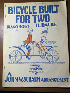BICYCLE BUILT FOR TWO Piano Solo by H. Dacre 1943 CLASSIC SHEET MUSIC $2.99