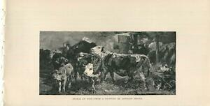 ANTIQUE COWS SHEEP FARM ANIMALS ALL ESCAPING BARN FIRE SHERPHERDESS STABLE PRINT $400.00