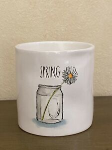 Rae Dunn Ceramic Jar SPRING Etched with Flower Scented Candle 9oz *NEW* $19.99