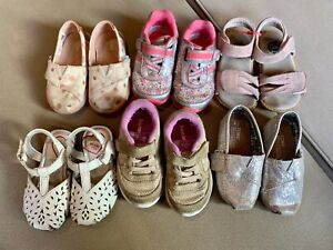 Lot of 7 Toddler Girls Shoes Size 5 saucony Toms Livie Luca stride rite $23.00