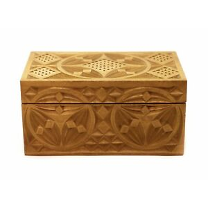 Vintage Small Wooden Box Jewelry Trinket Hand Carved Geometric Design $11.97
