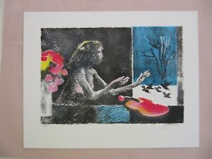 French lithograph print Paul Guiramand unframed Woman with violin #2 160 $250.00