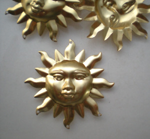 6 extra Large raw brass sun charms #1 $6.00