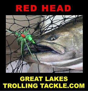 Premium Salmon Trolling Fly RED HEAD Strong Glow Tournament Rigged