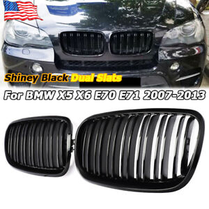 Dual Slats Front Kidney Grille Grill Shiny Black For BMW X5 X6 E70 E71 2007 2013 $32.88