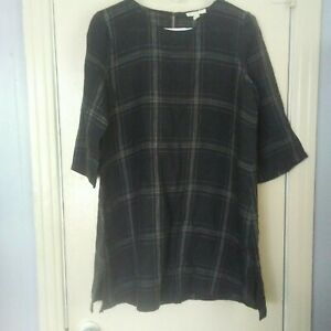 Eileen Fisher Womens size PS Organic Linen Black Plaid Tunic Top $40.00