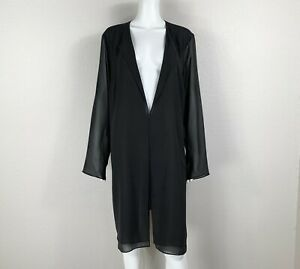 EILEEN FISHER Silk Chiffon Long Jacket Blouse Black Size 1X Woman Plus NTSF $39.98