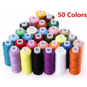 50X Roll Polyester Colors Sewing Thread Box Kit Set For DIY Sewing Machine Home $16.59