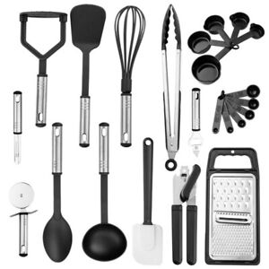 23Pcs Cooking Kitchen Utensils Set Stainless Steel Nylon Silicone Heat Resistant