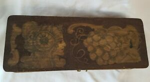 ANTIQUE BOX CARVED WOMAN GRAPES COLLECTIBLE EARLY GLOVE BOX PRIMITIVE $85.00