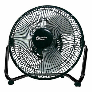Comfort Zone 9 Inch 3 Speed Portable High Velocity Air Cooling Floor Fan Black