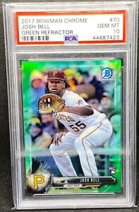 2017 BOWMAN CHROME Green REFRACTOR JOSH BELL #70 ROOKIE CARD 99 PSA 10 $100.00