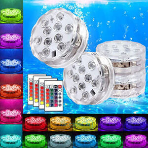 4x Waterproof Underwater Led Lights w Remote for Swimming Pool Fountain Hot tube