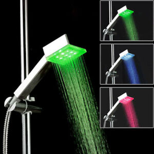Creative Square LED Shower Head Bathroom Temperature Control Led Light Change $13.99