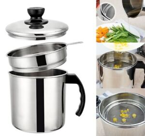 Kitchen Stainless Steel Oil Strainer Pot Filter Colander Grease Container Can US