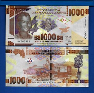 Guinea P 48a 1000 Francs Year 2015 Uncirculated Africa Banknote New Design $1.95