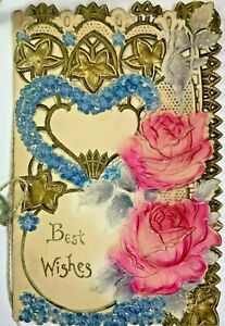 Postcard 1910 Easter Antique with Lace edge Glitter Gold Embossing P02 $6.95