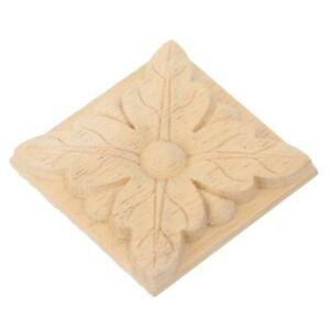 4Pcs Carving Checkered Applique Unpainted Decal For Furniture Decoration