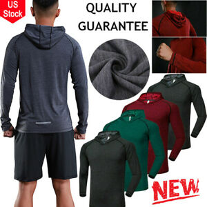 Mens Gym Workout Casual Hooded Sweatshirts Hoodies Pullover Long Sleeve T Shirt $12.99