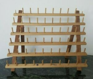 June Tailor 60 Spool Sewing Thread Holder Rack Wood Folding Free Shipping $18.95