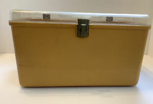 Vintage Wilson Wil hold Retro Harvest Gold Plastic Sewing Storage Box w 2 Trays $29.00