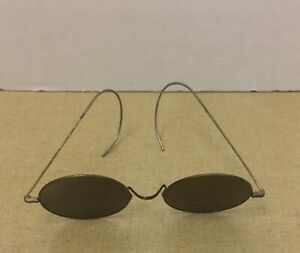 ANTIQUE ROUND AMBER WIRE RIM SUNGLASSES MARKED USA LENNON STYLE $29.99
