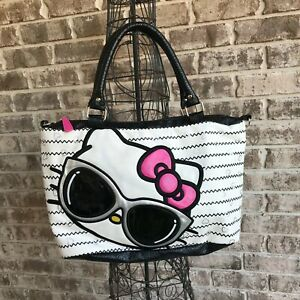 Loungefly Sanrio Hello Kitty Striped Tote Handbag Purse Sunglasses Fashion Rare