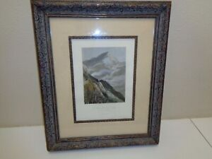 Framed Matted Hand Colored Lithograph of MOUNT WASHINGTON ROAD White Mountains $76.50