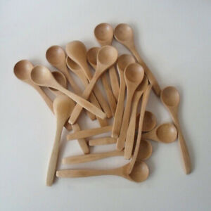 10Pcs 13cm Small Wooden Spoons Coffee Honey Tea Stirrer Tableware Scoop Kit US