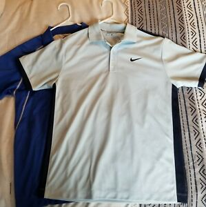NIKE GOLF DRI FIT SHIRTS 2 LIGHT AND MEDIUM BLUE PRE OWNED $5.00