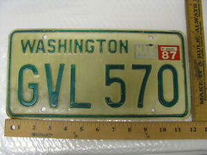 1987 87 WASHINGTON WA LICENSE PLATE #GVL 570