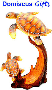 9 NEW Swimming SEA TURTLES Simulated Wood Hand Carved COLLECTIBLE Figurine $29.80