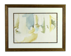 Vintage Modern Abstract Minimalist Tonal Pencil and Watercolor Painting Soft Hue
