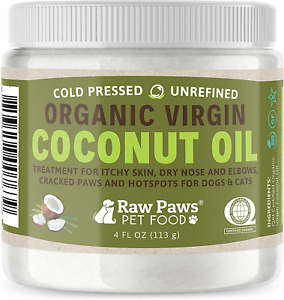 Raw Paws Organic Coconut Oil for Dogs amp; Cats 4 oz Treatment for Itchy Skin D