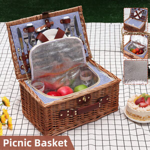 Outdoor Insulated Picnic Basket Wicker Basket Camping Willow Bag Hiking NEW