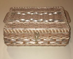 Vintage Sewing Basket Box Japan Wooden Woven Wicker Quilted Satan w Handle $24.99
