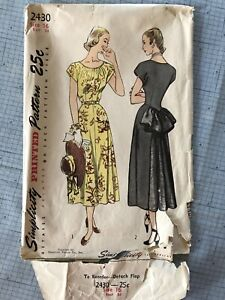 Simplicity 2430 Vintage Sewing Pattern 1948 One Piece Dress W Godet In Back $18.00