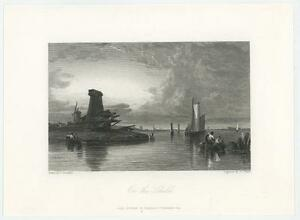 ANTIQUE ON THE SCHELDT RIVER FISHING SAIL BOAT ANTWERP BELGIUM WINDMILL PRINT $600.00
