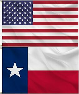 American and Texas State Flag Combo SET 3X5 FT 100D POLYESTER