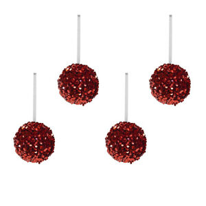 Set 4 Red Sequin Balls Hanging Christmas Tree Ornaments Holiday Xmas Party Decor