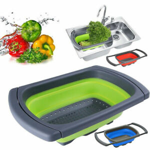Over the Sink Collapsible Colander Silicone Kitchen Retractable Strainer Basket