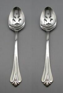 Oneida Silverplate Silver Royal Flute Slotted Serving Spoons Set of Two