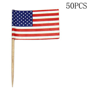 100X American USA Flag Picks Paper Toothpick Food Cupcake Decor Party A4G2