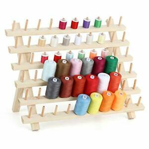 60 Spool Thread Rack Wooden Thread Holder Sewing Organizer Collapsible Wall $30.36