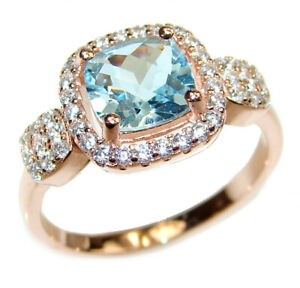 Fancy Swiss Blue Topaz 18k Gold over .925 Sterling Silver handcrafted ring size $251.28